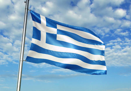 Greece flag waving in the cloudy sky 3D illustration
