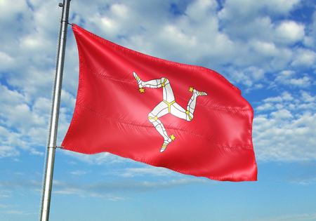 Isle of Mann flag waving in the cloudy sky 3D illustration