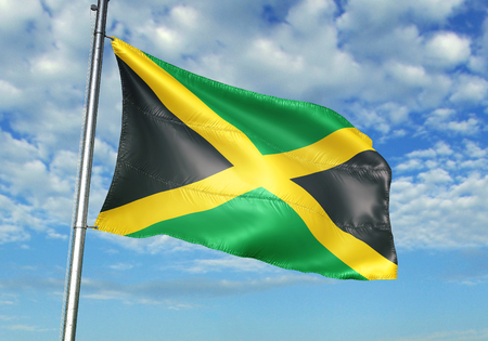 Jamaica flag waving in the cloudy sky 3D illustration Stock Photo