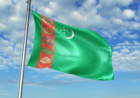 Turkmenistan flag waving in the cloudy sky 3D illustration