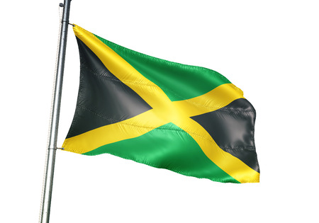 Jamaica flag waving isolated on white background 3D illustration