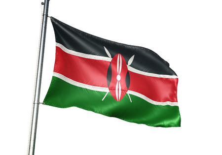 Kenya flag waving isolated on white background 3D illustration