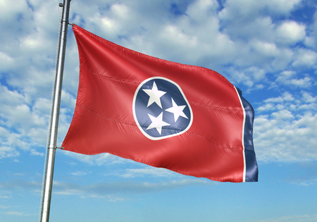 Tennessee state of United States flag waving in the cloudy sky 3D illustration