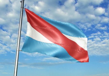 Entre Rios province of Argentina flag waving in the sky 3D illustration