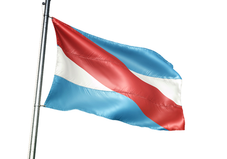 Entre Rios province of Argentina flag waving isolated white background 3D illustration Imagens