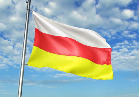 North Ossetia region of Russia flag waving in the sky 3D illustration