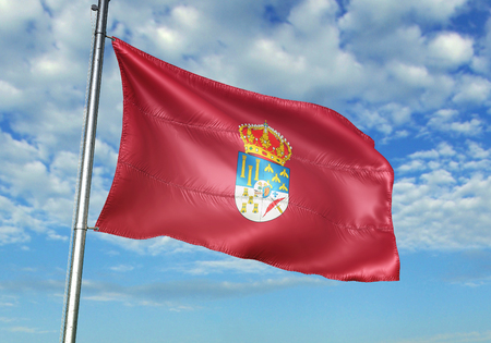 Salamanca province of Spain flag waving cloudy sky background 3D illustration Stock Photo
