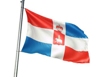 Perm Krai region of Russia flag waving isolated white background 3D illustration