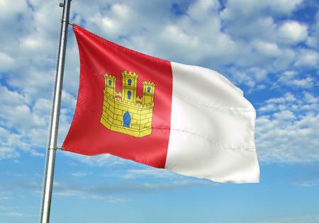 Castile-La Mancha of Spain flag waving cloudy sky background 3D illustration