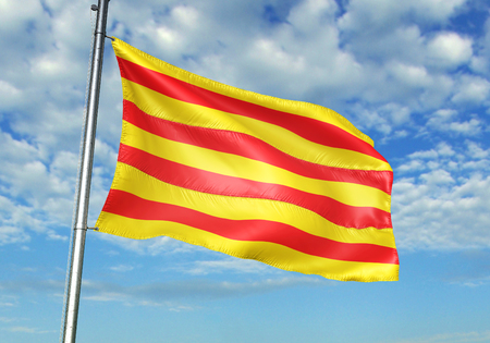 Catalonia of Spain flag waving cloudy sky background 3D illustration