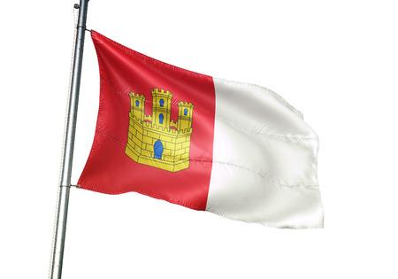 Castile-La Mancha of Spain flag waving isolated white background 3D illustration Imagens
