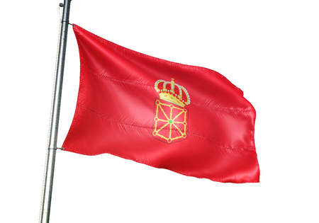 Navarre of Spain flag waving isolated white background 3D illustration