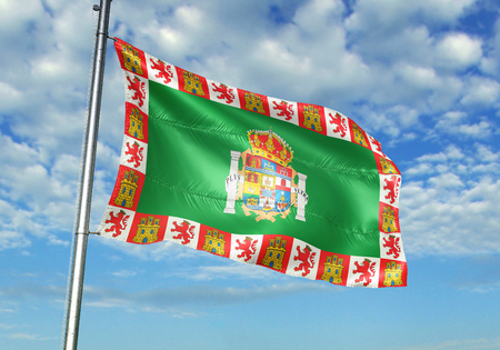 Cadiz province of Spain flag waving cloudy sky background 3D illustration