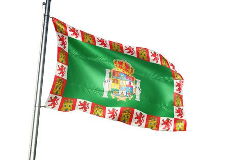 Cadiz province of Spain flag waving isolated white background 3D illustration