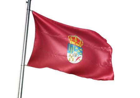 Salamanca province of Spain flag waving isolated white background 3D illustration