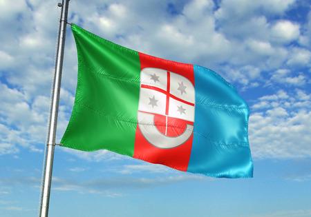 Liguria region of Italy flag waving cloudy sky background 3D illustration 스톡 콘텐츠