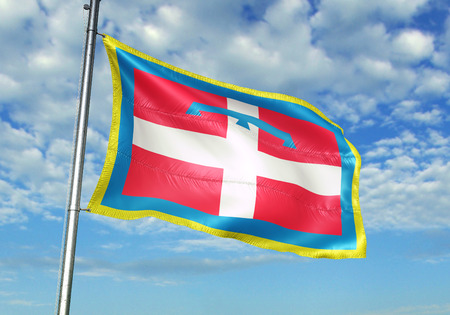 Piemonte region of Italy flag waving cloudy sky background 3D illustration