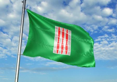 Umbria region of Italy flag waving cloudy sky background 3D illustration Фото со стока