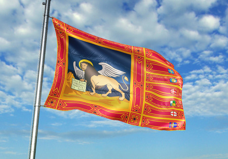 Veneto region of Italy flag waving cloudy sky background 3D illustration