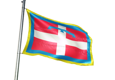 Piemonte region of Italy flag waving isolated white background 3D illustration