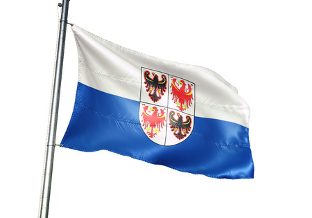 Trentino-South Tyrol region of Italy flag waving isolated white background 3D illustration