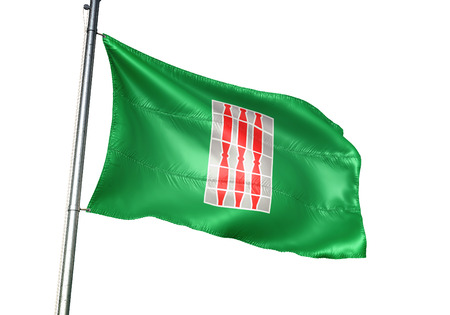 Umbria region of Italy flag waving isolated white background 3D illustration