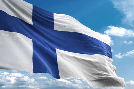 Finland flag waving blue sky background 3D illustration