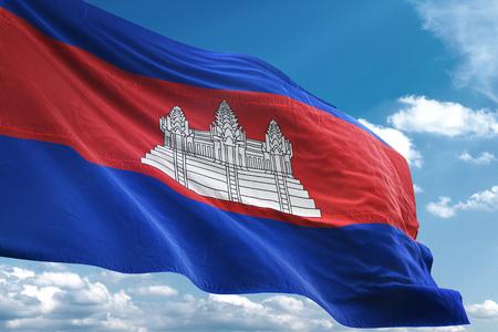 Cambodia flag waving blue sky background 3D illustration Фото со стока