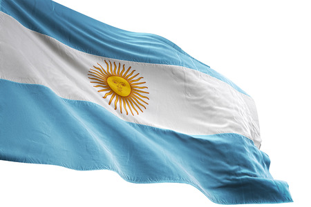 Argentina flag waving isolated on white background 3D illustration