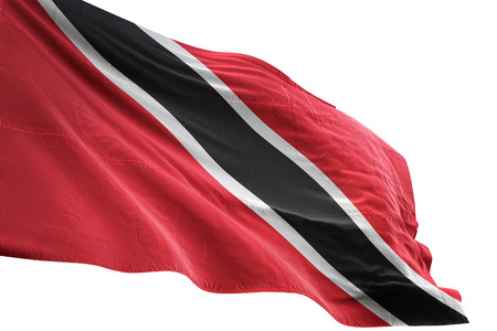 Trinidad and Tobago flag waving isolated on white background 3D illustration Stock Photo