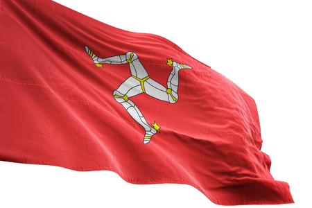 Isle of Mann flag waving isolated on white background 3D illustration Stock Photo