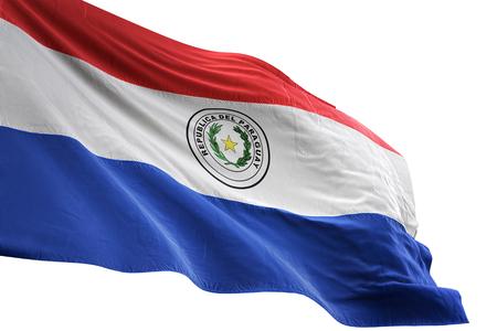 Paraguay flag waving isolated on white background 3D illustration
