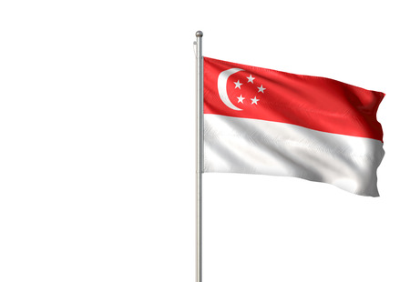 Singapore flag waving isolated on white background 3D illustration