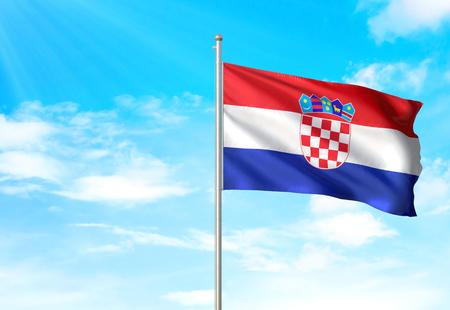 Croatia flag waving blue sky background 3D illustration