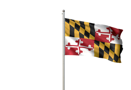Maryland state of United States flag waving isolated white background 3D illustration