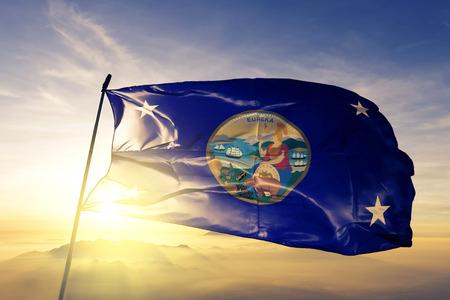 Gobernador de California bandera tela de tela ondeando en la parte superior niebla niebla del amanecer