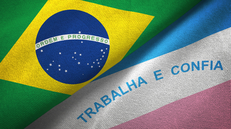 Espirito Santo state and Brazil folded flags together