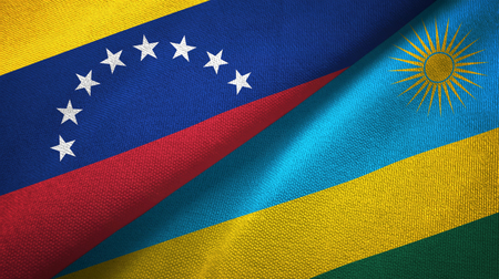 Venezuela and Rwanda two folded flags together