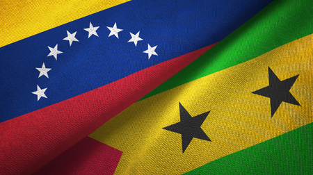 Venezuela and Sao Tome and Principe two folded flags together