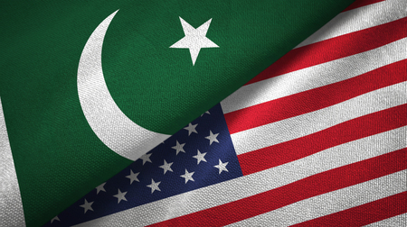 Pakistan and United States flags together textile cloth, fabric texture
