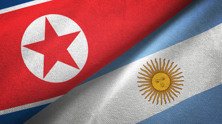 North Korea and Argentine flags together textile cloth, fabric texture