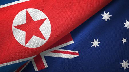 North Korea and Australia flags together textile cloth, fabric texture