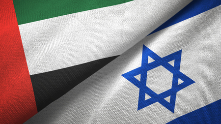 United Arab Emirates and Israel flags together textile cloth, fabric texture