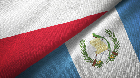 Poland and Guatemala flags together textile cloth, fabric texture