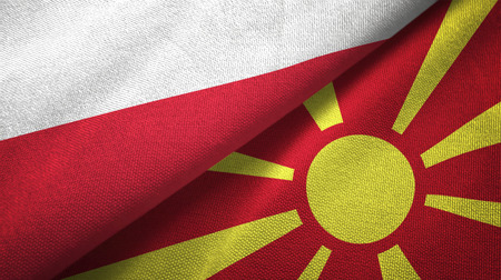 Poland and Macedonia flags together textile cloth, fabric texture
