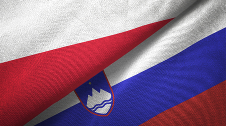 Poland and Slovenia flags together textile cloth, fabric texture