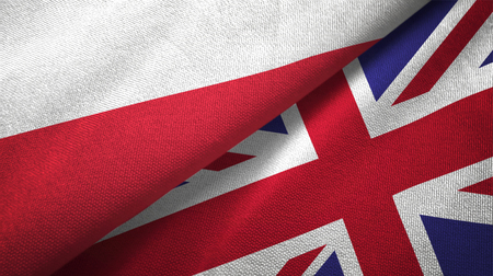 Poland and United Kingdom flags together textile cloth, fabric texture 스톡 콘텐츠
