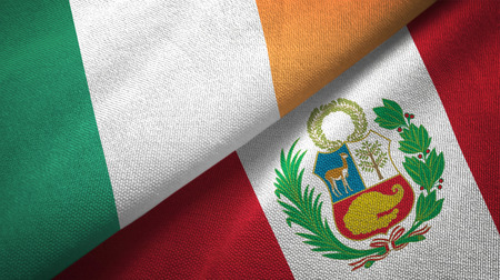 Ireland and Peru flags together textile cloth, fabric texture