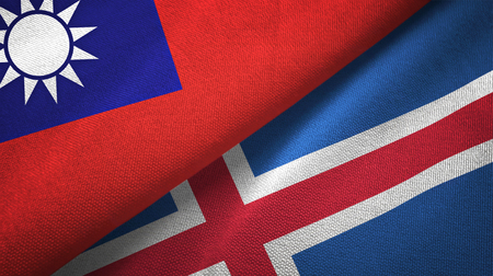 Taiwan and Iceland flags together textile cloth, fabric texture Archivio Fotografico