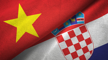 Vietnam and Croatia flags together textile cloth, fabric texture
